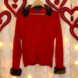 Red Zip Cardigan Sweater/shirt combo faux fur trim